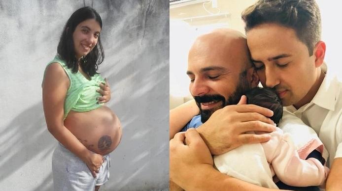 Mulher conta que engravidou para dar bebê a casal gay de amigos