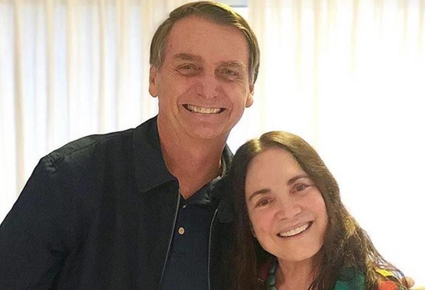 Para Regina Duarte, homofobia de Bolsonaro é da boca pra fora