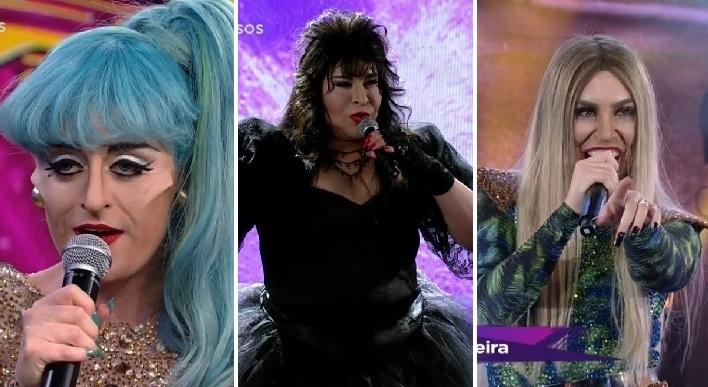 Naiara Azevedo, Alessandra Maestrini e Tiago Abravanel fazem performances de divas gays no Faustão